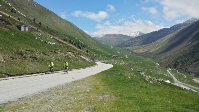 Cyclists on the Croix de Fer, French Alps