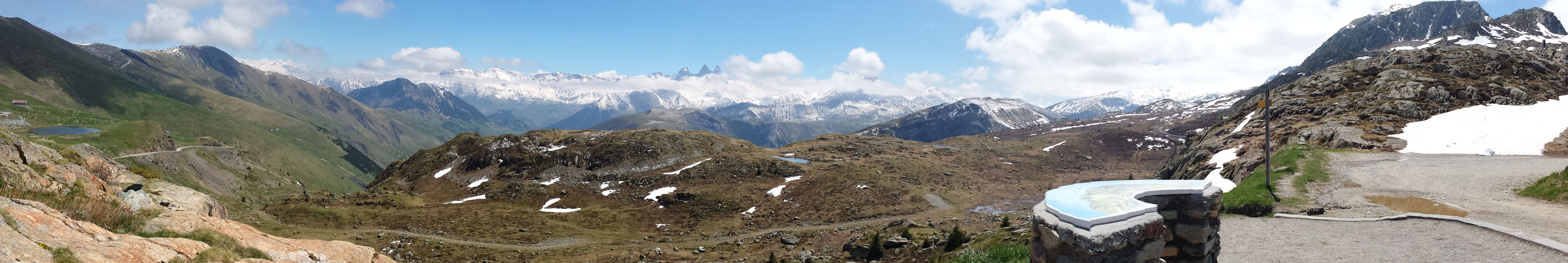 Panoramic view from the top of Croix de Fer, French Alps