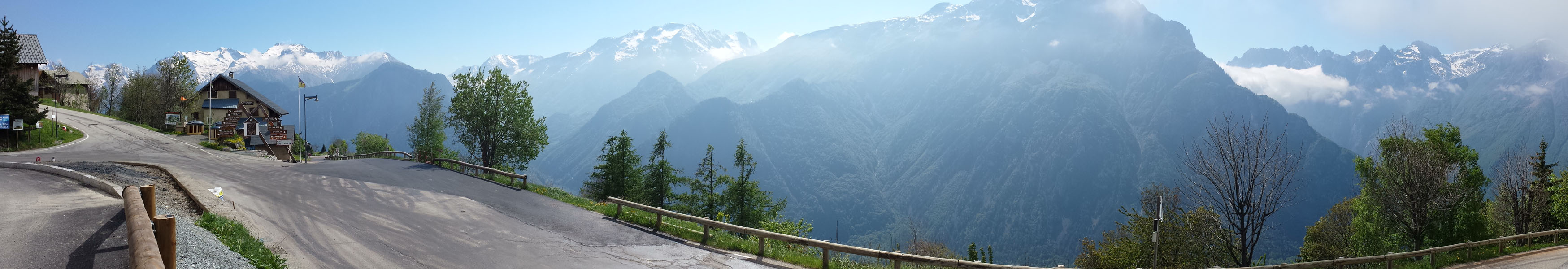 Panoramic view from town of Huez, French Alps