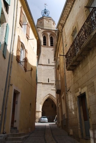 View of historic centre and church, Caux, Languedoc