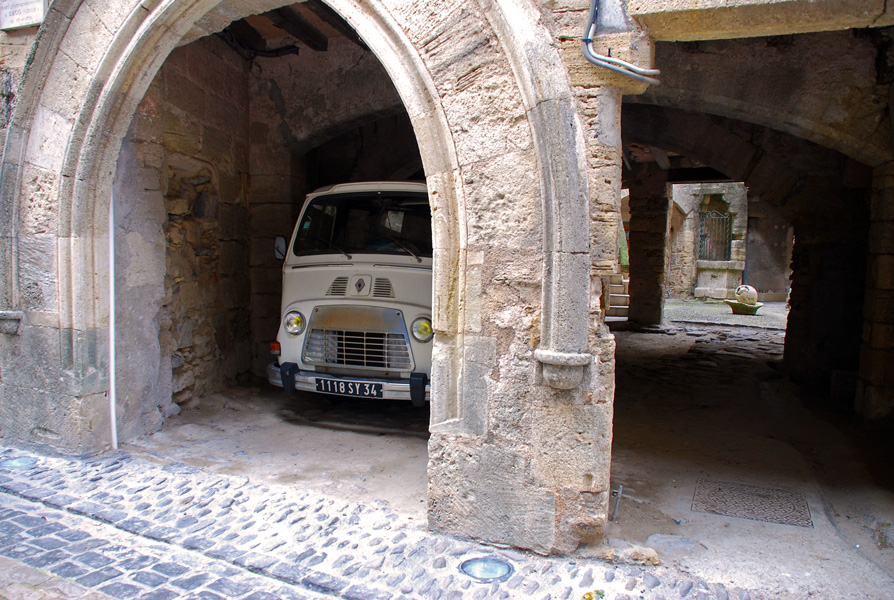 Old Renault truck in courtyard, Caux, Languedoc