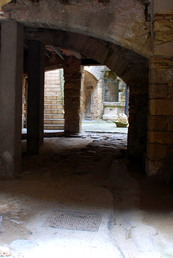 Stone courtyard, Caux, Languedoc