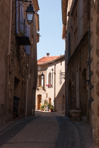 Street in historic centre of Caux, Languedoc