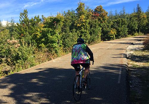 Cyclist riding on Mont Ventoux