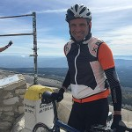 Cyclist at top of Mont Ventoux