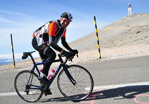 Cyclist Ascending Mont Ventoux