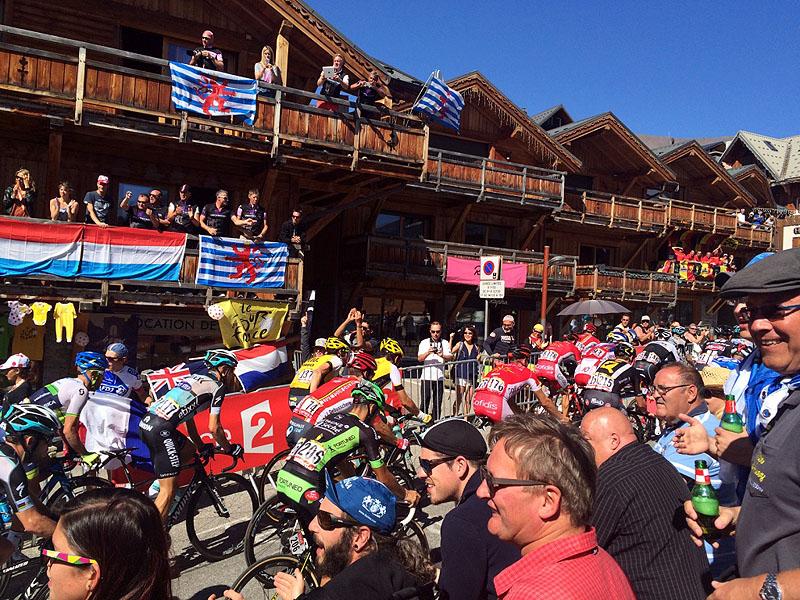 Crowds watching Tour de France 2015 at Alpe d'Huez