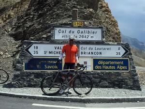 Cyclist on Col du Galibier, French Alps