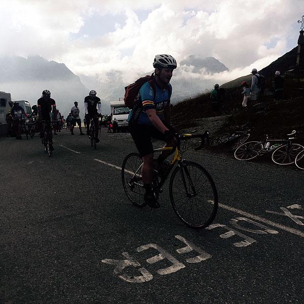 Cyclists climbing the Croix de Fer