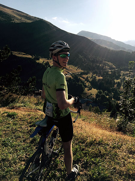 Cyclist in the French Alps