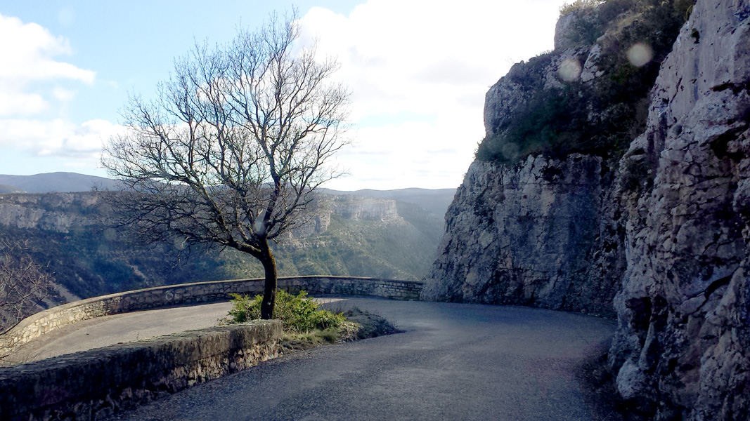 Switchback in road and view over Cirque de Navacelles