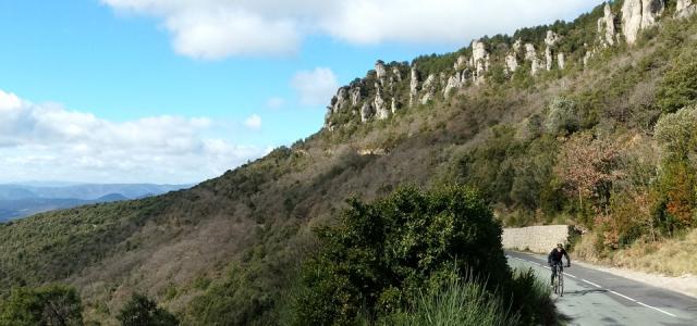 Cyclist ascending Col du Vent