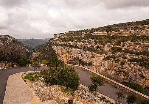 Switchback in the road entering Minerve, Languedoc