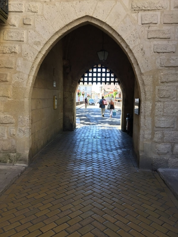 Gateway to old town with Porticus, Sommieres