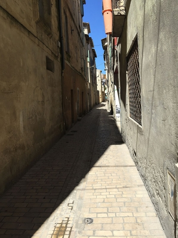 Narrow streets in medieval centre of Sommieres