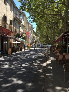 Cafes on the river, Sommieres, Languedoc