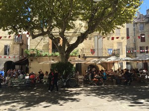 Cafes in the square, Sommieres, Gard, Languedoc