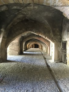 Arches beneath the Roman bridge in Sommieres