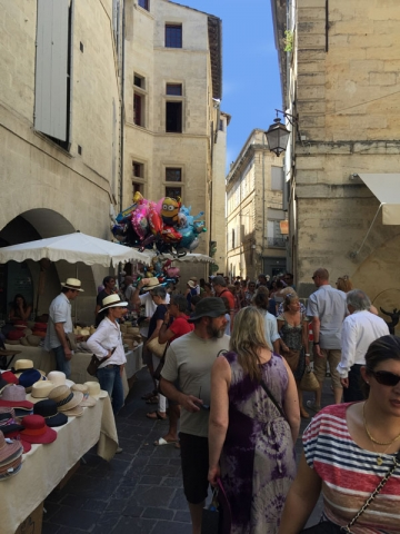 Colourful Market Day in Uzès, Languedoc