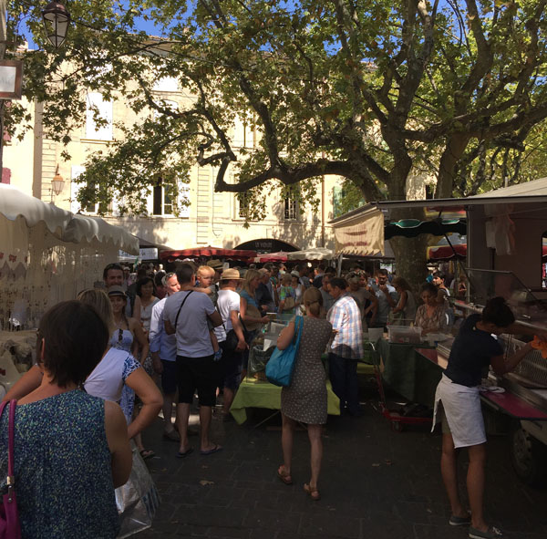 Stalls on Market Day in Uzès, Languedoc