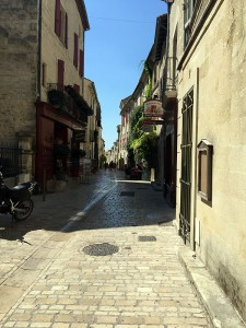 Shopping street in Uzès, Languedoc