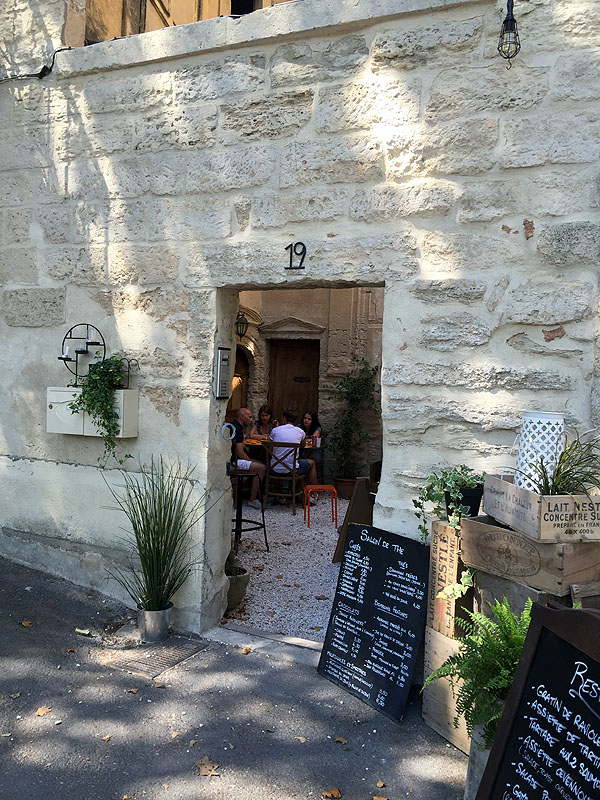 Courtyard cafe in Uzès, Languedoc
