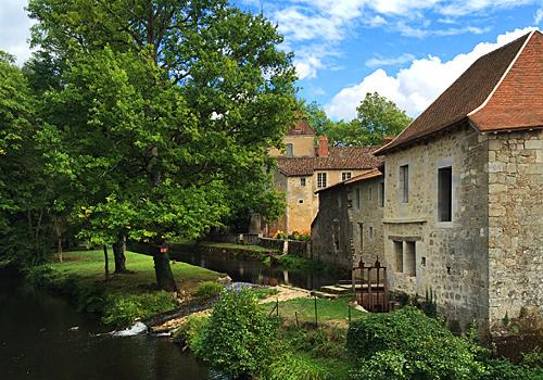 View from the bridge, St Jean de Cole, Dordogne