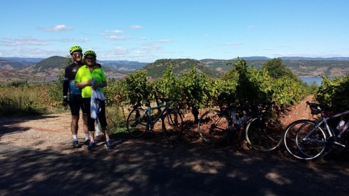 Taking a break from cycling at Lac Salagou