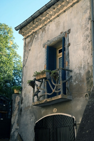 Rustic Balcony Made of Grape Vine in St. Guilhem le Desert, Languedoc