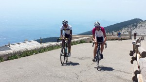 Cyclists arriving at the summit of Mt Ventoux