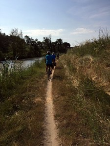 Day 1: Cycling single file was sometimes required along the canal path