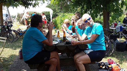 Day 1: Lunch stop, enjoying a cold drink