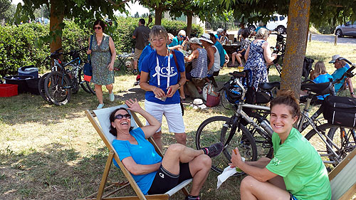 Day 1: Lunch stop - Penny Parkinson chatting with 2 of the riders from the US
