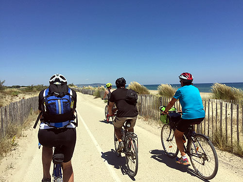 Day 4: Cycling on the beach path as we approach Sete