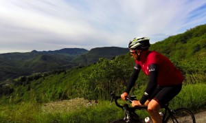 Cyclist on Col de l'Asclier, Cevennes