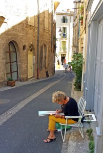 Artist Painting a Street Scene in Pezenas, Languedoc
