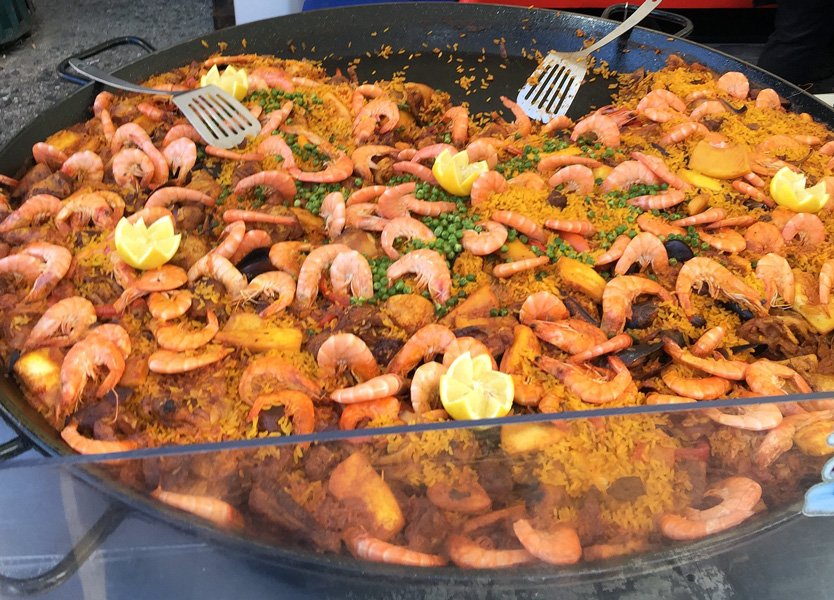 Delicious Paella at the Pezenas Market, Languedoc