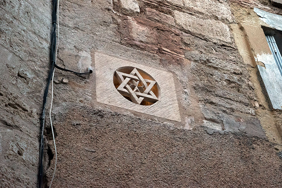Wall carving in Historic Jewish Quarter, Pezenas, Languedoc