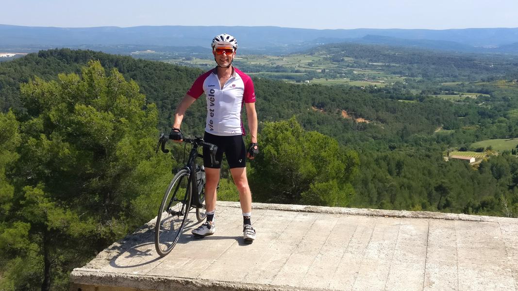 Cyclist on Col du Vent, Cevennes, Languedoc