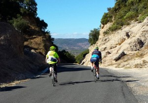 Cyclists at Cirque de Moureze, Languedoc