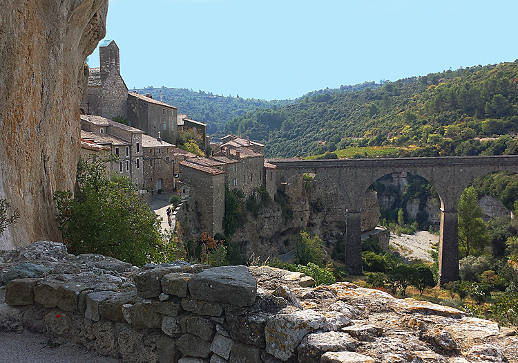 View of Cathar Bridge in Minerve, Languedoc