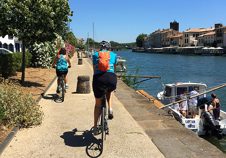 Cycling the Canal du Midi at Agde, Languedoc
